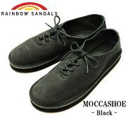 """【送料無料】【RAINBOWSANDALS/レインボーサンダル】-MOCCASHOE""""BLACK""""/モカシュー""""ブラック"""""""