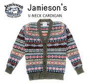 """【送料無料】【JAMIESON'S/ジャミーソンズ】-FAIRISLEV-NECKCARDIGAN/フェアアイルVネックカーディガン""""CHARCOAL""""-"""