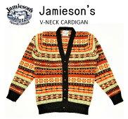 """【送料無料】【JAMIESON'S/ジャミーソンズ】-FAIRISLEV-NECKCARDIGAN/フェアアイルVネックカーディガン""""HEATHERBLACK""""-"""