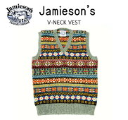 """【送料無料】【JAMIESON'S/ジャミーソンズ】-FAIRISLEV-NECKVEST/フェアアイルVネックベスト""""GREY""""-"""