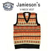 """【送料無料】【JAMIESON'S/ジャミーソンズ】-FAIRISLEV-NECKVEST/フェアアイルVネックベスト""""HEATHERBLACK""""-"""