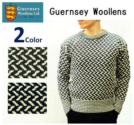 Guernsey Woollens Zigzag Sweater: Navy / Ecru, Charcoal / Ecru