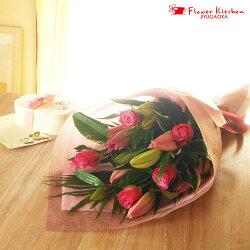 ピンクユリ花束