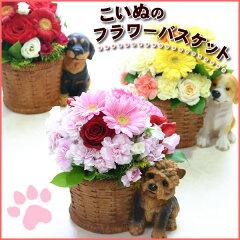 犬の人形付の器に季節の花をアレンジしたワンちゃん好きが喜ぶアニマルギフト【フラワーアレンジメント】こいぬのフラワーバスケット[花の専門店 行きつけのお花屋さん]