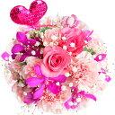 生花アレンジメント【MK】洋ランとカーネーションのハートピックアレンジメント 誕生日・結婚記念日・敬