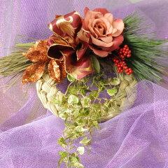 シックなバラを使って豪華にしめ縄を仕上げました。縁起物の小物を使ったお正月飾りです【2012...