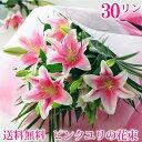 誕生日 ゆり 花束 ギフト花 大輪系 ピンクユリ の 花束 30輪以上 お花 プレゼント 女性 花 フラワー ギフト 花束 百合 花束 お祝いの花 送料無料 贈る