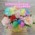 花ことばオリジナルレインボーカーネーションのアレンジメント誕生日プレゼント女性人気結婚記念日フラワーお祝い出産長持ち送料無料