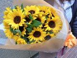 ひまわりのブーケお誕生日、母の日の贈り物に!!ヒマワリ10本の花束