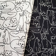 綿麻キャンバス/猫ねこネコ/モノトーン