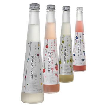 スパークリング日本酒花の舞ちょびっと乾杯4種類セットプレーンxメロンxイチゴxブルーベリー300mlx各1本   女子会 贈り物