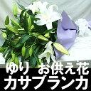 【お供え 花】 白いユリ カサブランカ 悔みの花束 【お供え】【お悔やみ 花】【枕花】