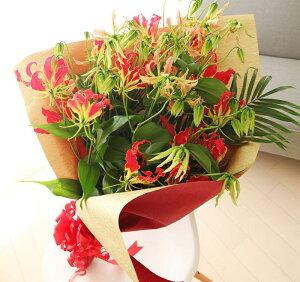 花束 プレゼント 女性 グロリオサ10本の 花束 フラワーギフト 還暦祝い 母 本州は 送料無…