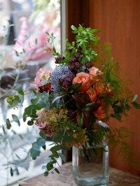 花束フラワー花かわいい誕生日お祝開店祝いプレゼントバラピオニーマムアジサイユーカリ大きなピオニーマムが印象的な豪華ブーケ送料無料札無料メッセージカード無料父の日