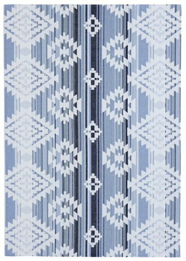 【2019新作】ゴブランシェニールラグ 洗濯機OK「オルテガグラデーション」ブルー 約185×185cm