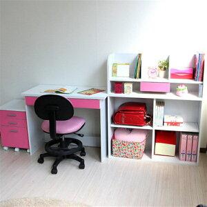 3WAYレイアウトデスク 書棚付きラック 3段チェスト 3点セット ピンク&ホワイト