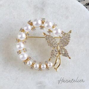 2色◆バイカラーパールのクラシカルモチーフピンブローチ【メール便OK】bro004