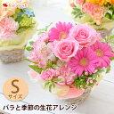 フラワーアレンジメント バラと季節の花 おまかせ生花アレンジ Sサイズ 画像配信