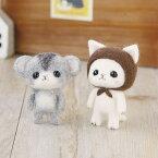 羊毛フェルトキット 茶色ずきんの白猫とジャンガリアンハムスター 羊毛フェルト フェルト羊毛 キット