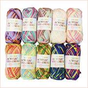 アクリル毛糸ミニスポーツアクリルカラフル10色各1玉セット