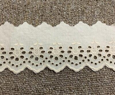 綿生成レース 75mm巾