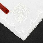 ブルーミングイニシャル刺繍ハンカチ