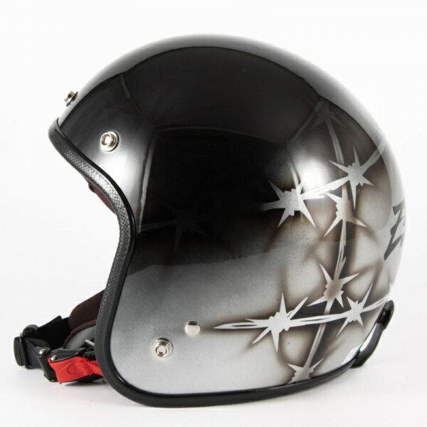 ジャムテックジャパン 72JAM JCP-04ZEKE ジーク シルバー ジェットヘルメット [ブラック/シルバーベースグロス仕上げ]FREEサイズ(57-60cm未満) メンズ レディース 兼用品 SG規格 全排気量対応
