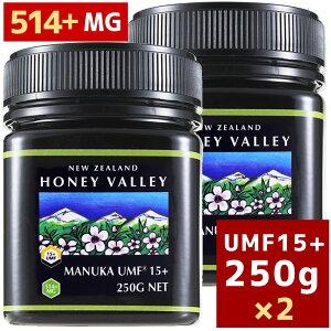 [マヌカハニー][アクティブマヌカハニーUMF 15+ 250g MGO514〜828相当]★2個セット天然蜂蜜/はちみつハニーバレー(100% Pure New Zealand Honey)[HLS_DU][RCP]
