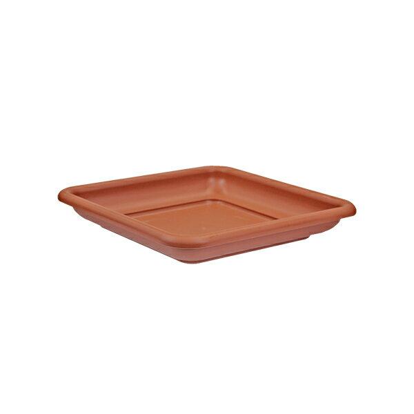 イタリア直輸入 プラスチック植木鉢 正方形 受け皿 クアドロマキシ用 30cm×30cm×H4.5cm ブラウン