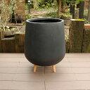 植木鉢 ファイバークレイ 丸型 背高 ロータイプ脚付き 45×56 ブラック