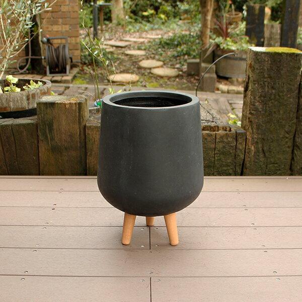 植木鉢 ファイバークレイ 丸型 背高 ロータイプ脚付き 30×41 ブラック