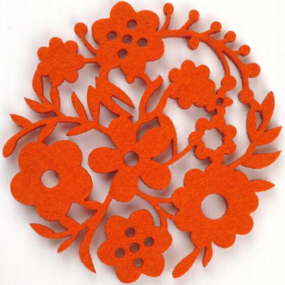 コースター ポリエステルフェルトシリーズ 「ガーデン」 オレンジ 41011CDOR 8675848 送料別 通常配送画像