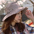 UVカット ギンガムチェック柄サファリハット レディース メンズ 春夏素材 UVカット 帽子 紫外線対策 日焼け止め 日除け 日よけ ガーデニング サンシェード キャスケット レディース 素材 春夏 紫外線 紫外線対策 おしゃれ 帽子