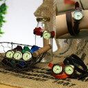かわいい本革レザーウォッチ2連 レディース ゆるベルト アンティーク 革ベルト アナログ腕時計 ゆるかわ 森ガール 山ガール ファッション ブラック ブラウン 2重 2連巻き 2重巻き 2ラップ巻き