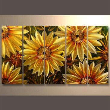【現代アート工房】 メタルアート 現代絵画 インテリア 絵画 壁掛け 立体感のあるモダンアート ハンドメイド作品 ナチュラルライン ひまわりA 2FMA-520 30×80cm-5