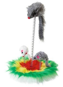 【ドイツKerbl】ネズミのおもちゃがばねで行ったり来たりするので猫ちゃんの好奇心をくすぐります。ドイツKerbl社 猫ちゃん用おもちゃ マウススイング【猫おもちゃ ねこカフェ キャットタワー 爪とぎ】