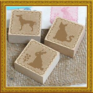 【送料無料】犬、うさぎ、猫のセット!ハンドメイド・ラッピング・手芸のタグテープに はんこ...