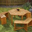 【先行予約/4月末入荷予定】木製六角テーブル&ベンチ 4点セット/バーベキューテーブル ガーデンファニチャーセット BBQ テーブル ガーデンチェア ガーデンテーブル/ガーデンファニチャー/ガーデン テーブル/送料無料/RCP/05P03Sep16/【HLS_DU】