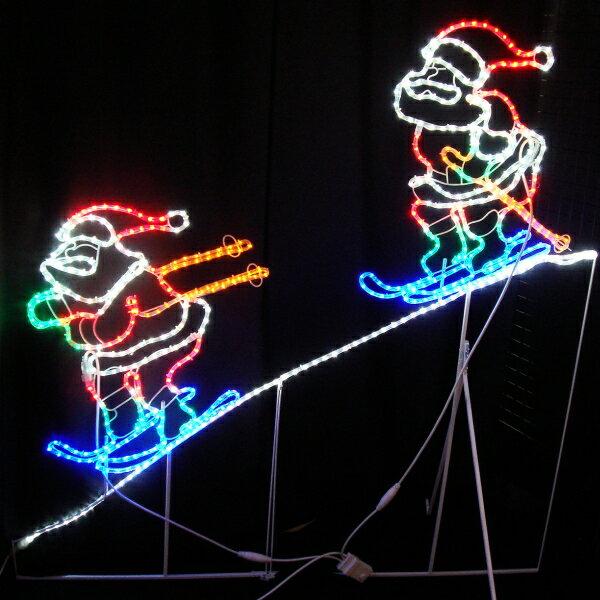 LEDイルミネーション/2Dモチーフライト LED2人スキーサンタ/サンタクロース/イルミネーション 防雨/クリスマス/送料無料/コロナ産業/RCP/05P03Sep16/【HLS_DU】