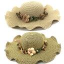 フラワー 女優 帽子 波型 リボン ストローハット 波型 お花 リボン レディース 3