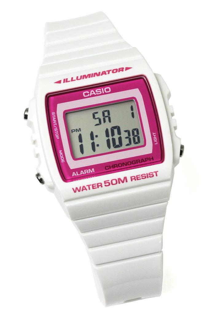 チプカシ 腕時計 デジタル CASIO カシオ チープカシオ メンズ W-215H-7A2 ホワイト ピンク 防水 軽量 人気 激安
