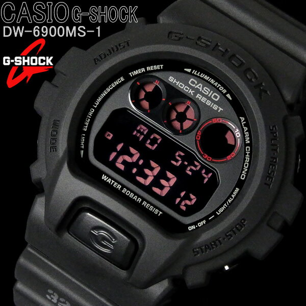 腕時計, メンズ腕時計  CASIO G MAT BLACK RED EYE DW-6900MS-1 WATCH CASIOG-SHOCK