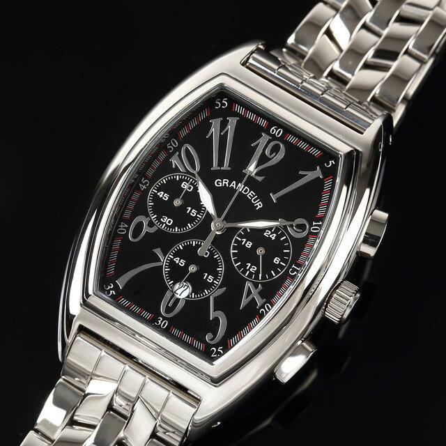 グランドール GRANDEUR 腕時計 メンズ 男性 日本製 MADE IN JAPAN モデル トノー型 クロノグラフ クォーツ 3針 JGR003W2 かっこいい テレビ 俳優 ドラマ プレゼント 可能 誕生日 話題 インスタ SNS