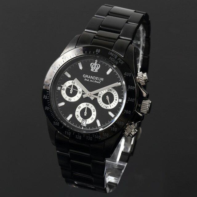 グランドール GRANDEUR 腕時計 メンズ 男性 日本製 MADE IN JAPAN モデル クォーツ 3針 ブラック クロノグラフ JGR005W1 かっこいい テレビ 俳優 ドラマ プレゼント 可能 誕生日 話題 インスタ SNS