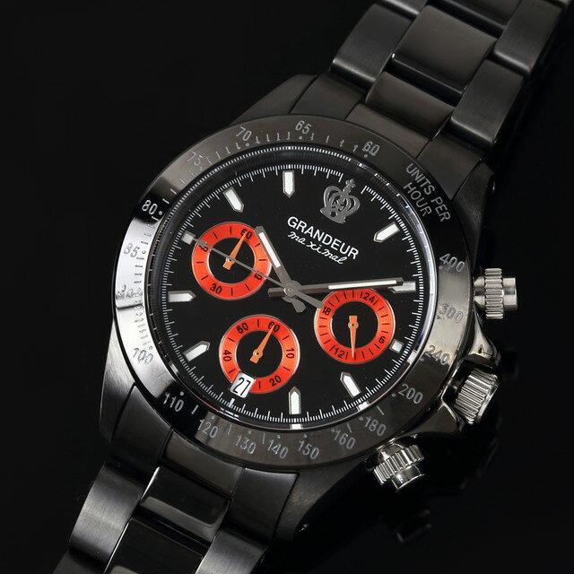 グランドール GRANDEUR 腕時計 メンズ 男性 日本製 MADE IN JAPAN モデル クォーツ 3針 ブラック クロノグラフ JGR005W2 かっこいい テレビ 俳優 ドラマ プレゼント 可能 誕生日 話題 インスタ SNS