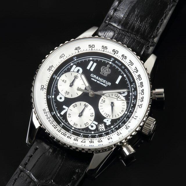 グランドール GRANDEUR 腕時計 メンズ 男性 日本製 MADE IN JAPAN モデル クォーツ 3針 レザーバンド クロノグラフ JOSC028W1 ブラック かっこいい テレビ 俳優 ドラマ プレゼント 可能 誕生日 話題 インスタ SNS