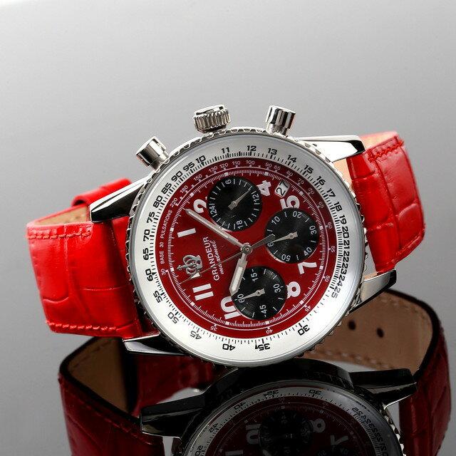 グランドール GRANDEUR 腕時計 メンズ 男性 日本製 MADE IN JAPAN モデル クォーツ 3針 レザーバンド クロノグラフ JOSC028W2 レッド かっこいい テレビ 俳優 ドラマ プレゼント 可能 誕生日 話題 インスタ SNS