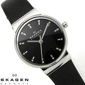 【送料無料】スカーゲン SKAGEN 腕時計 レディース SKW2193 革ベルト レザー 薄型 北欧 ラインストーン ブランド 激安 シルバー ブラック シンプル オフィス ビジネス プレゼント とけい うでどけい 時計 watch tokei udedokei