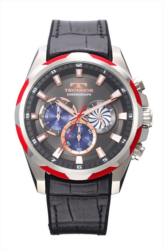 467ea516704c TECHNOS テクノス クロノグラフ クォーツ メンズ 腕時計 男性用 クロノグラフ T8585RE レッドラッピング無料 人気 プレゼント ギフト  おすすめ バレンタインデー