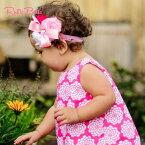 【ラッフルバッツ 】Rufflebutts【ベビー&キッズヘアアクセ】【RuffleButts】Headband (フラワー付) Pink, White, Fuchsia Raw Rosettes【お誕生日】1歳:女【お誕生日】2歳:女